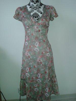 Kleid * Blumen * H&M * 34 * rot-rosa-grau/braun