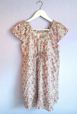 Kleid Blumenmuster Koralle Beige Gr. 38