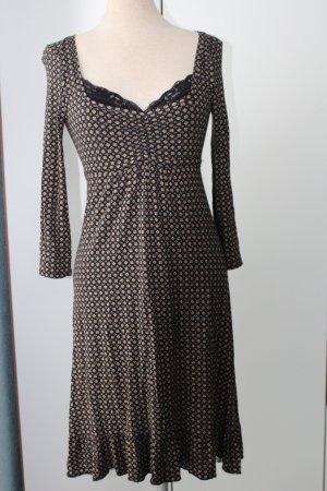 Kleid Blumenprint Midikleid S Spitze Gr. 36/38 braun schwarz