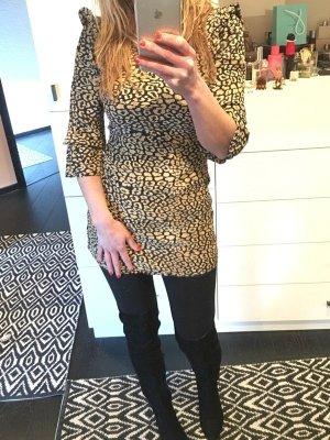 Kleid Bluse Leo Leopard gelb schwarz Senf zara Animal Blogger top Tunika