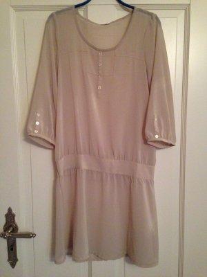 Kleid-Bluse, transparent, cremefarben