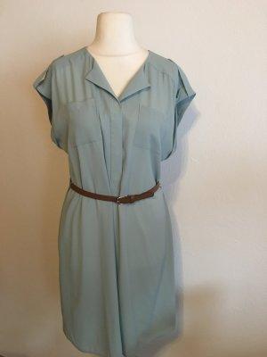 Kleid Blusenkleid hellblau mint mit Gürtel Gr. 38