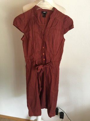 Kleid Blusenkleid Hemdkleid Minikleid leicht rot braun Gr. 34