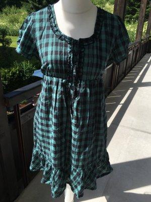 Kleid Blusenkleid süß kariert grün schwarz mit Band Gr. 40