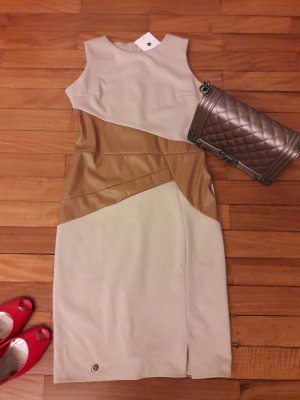 Kleid Bodycon 38 36 Leder Imitat Bleistiftkleid nude Makadamia Partrykleid khaki