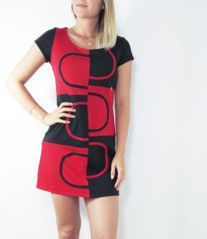 Kleid Büro Business rot schwarz eng sexy Basic M rinascimento