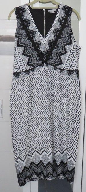 H&M Vestido a media pierna blanco-negro