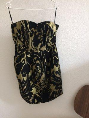 Kleid Bustierkleid Cocktailkleid schwarz gold