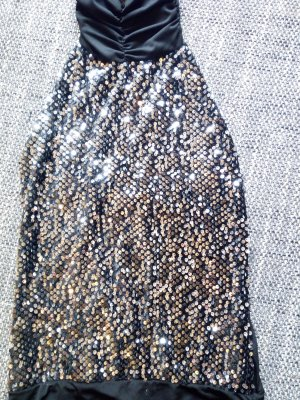 Vestido de lentejuelas negro tejido mezclado