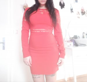 Missguided Lace Dress brick red