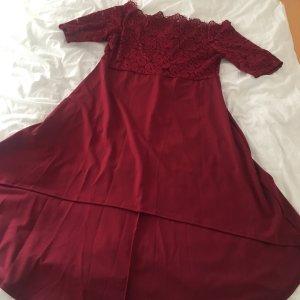 Kleid Carmenauschnitt vokuhila spitze weinrot 4xl