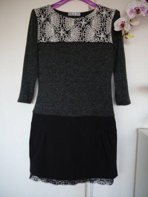 Kleid CHARME DE PARIS aus  Wolle mit Stickerei Größe M, Schwarz