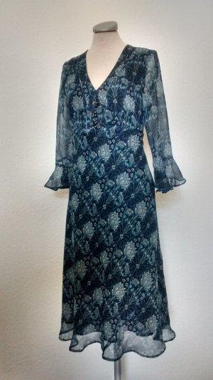 Kleid Chiffon blazu Ranken Blumen Gr. UK 12 40 M L neu  Büro