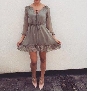 Kleid chiffon khaki Neu Sommerkleid Urlaub