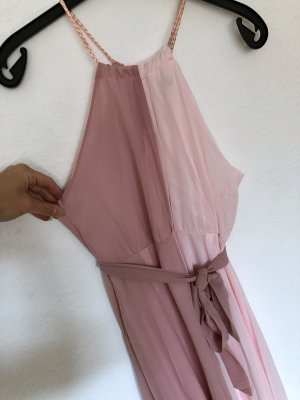 Kleid CHIFFON rosa maxi rosegold luftig lang satin chic Abschluss elegant
