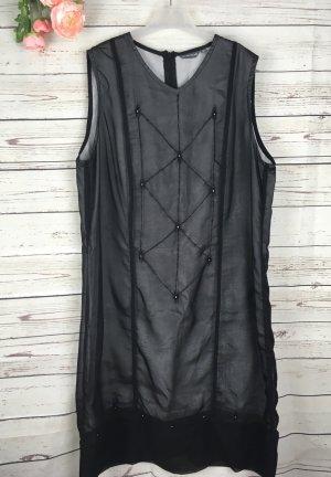 Kleid Chiffonkleid Schwarz mit silber Unterrock