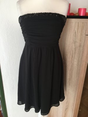 Kleid Cocktailkleid Abendkleid schwarz Bandeau sexy mit Pailetten Gr. M
