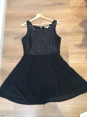 Kleid Cocktailkleid schwarz Pailetten Glamorous M 38 Chiffon