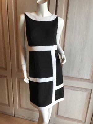 Kleid Comma Etuikleid 36 schwarz weiß Retro Style Viskose