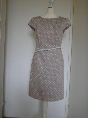 Kleid Comma Gr. 36 beige mit weißen Punkten