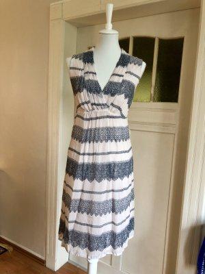 Cream Babydoll Dress natural white-steel blue