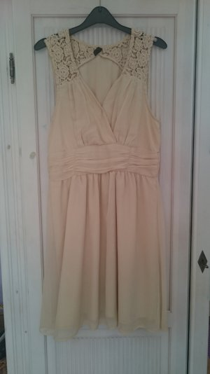 Kleid, cremefarben, Spitzenmuster, verspielte Träger