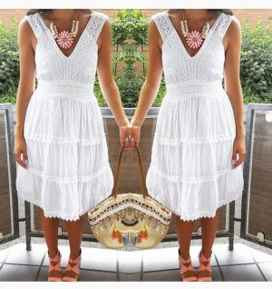 Kleid Crochet S Lace weiß hipster blogger boho hippie indie