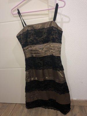 Robe trapèze marron clair-noir