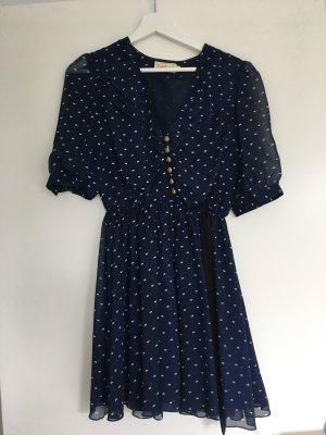 Dahlia Midi-jurk blauw-wit