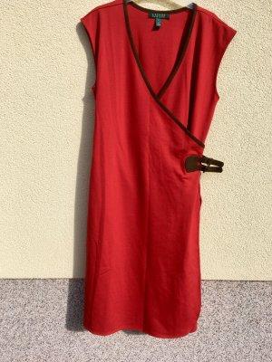 Lauren by Ralph Lauren Vestido cruzado rojo neón-marrón Viscosa