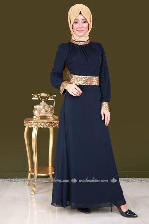 Vestido de chifón azul oscuro