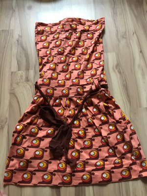 Kleid Divided H&M Retromuster Größe S 38 Bandeaukleid wie neu braun