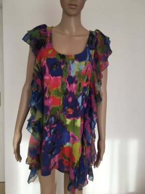 Kleid dress minikleid shirt Mini Jersey Volants rüschen Muster App Design blau rot bunt edel wow