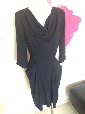 Kleid dunkelblau BCBGMaxazria Gr. S / M Wasserfallkragen
