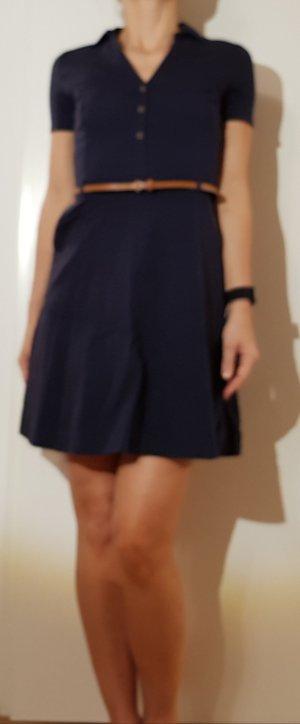 Kleid, dunkelblau mit Gürtel