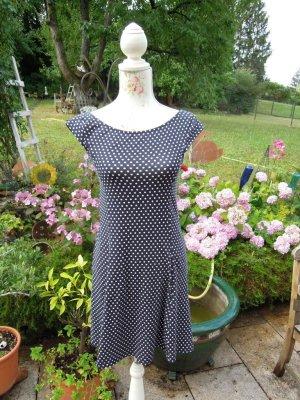 Kleid Dunkelblau Weiße Punkte Gr. S Stretch