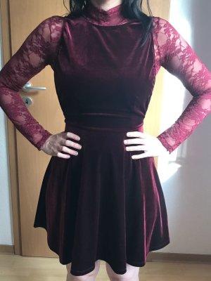 Kleid, Dunkelrot, rückenfrei, Samt, ohne Body