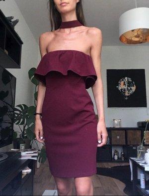 Kleid dunkelrot volants asos