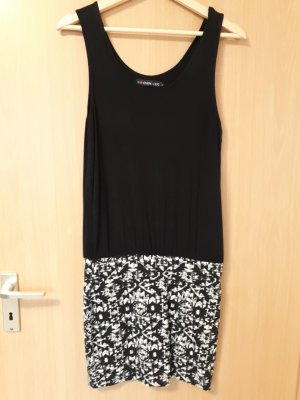 Vestido estilo camisa negro-blanco Viscosa