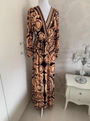 Robe portefeuille noir-doré