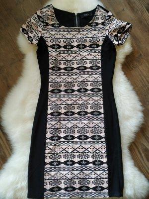 Kleid Ethno Muster Kleid kleines Schwarze Abendkleid Stretchkleid von Vila Größe 34 xs super Stretch  #neu#