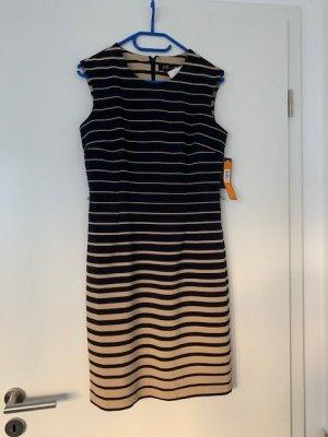 Kleid Etuikleid blau beige gestreift Gr. 38 Neu mit Etikett