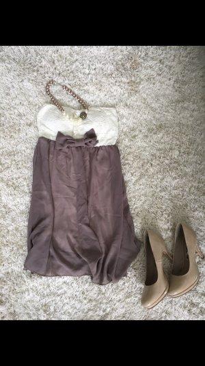 Kleid Etuikleid Cocktailkleid Hochzeitsgast grau weiß neu S Party Sommer
