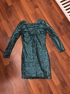 H&M Divided Robe à paillettes bleu pétrole