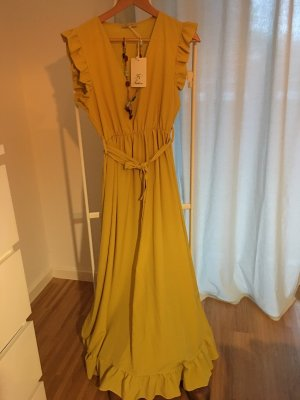 0039 Italy Robe à manches courtes orange doré