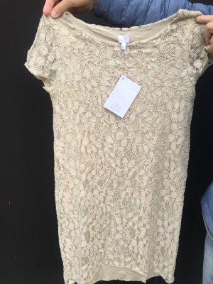 Alba Moda Shortsleeve Dress oatmeal-beige cotton