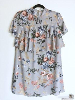 Kleid Floral Blumen Volants 34 XS Grau Blau