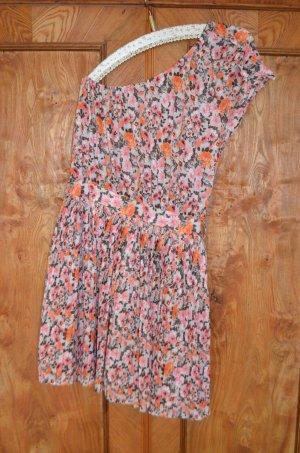 Mango One Shoulder Dress multicolored cotton