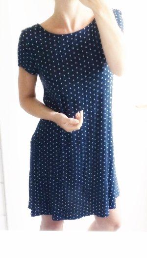 Kleid gepunktet Navy blau marineblau dunkelblau Punkte weiß Viskose 36 S