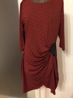 Kleid gereift Gr 42 44 L XL rot-schwarz
